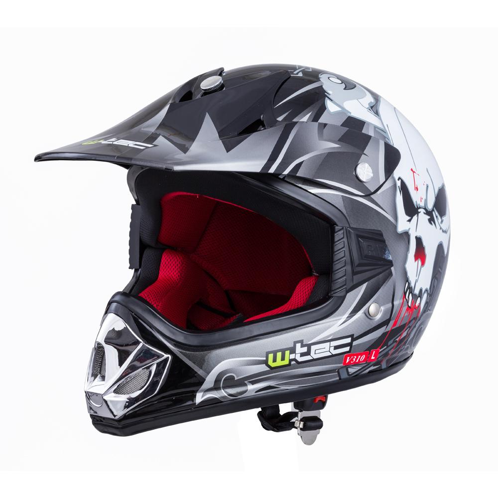 Detská moto prilba W-TEC V310 Black skull - XL (55-56)