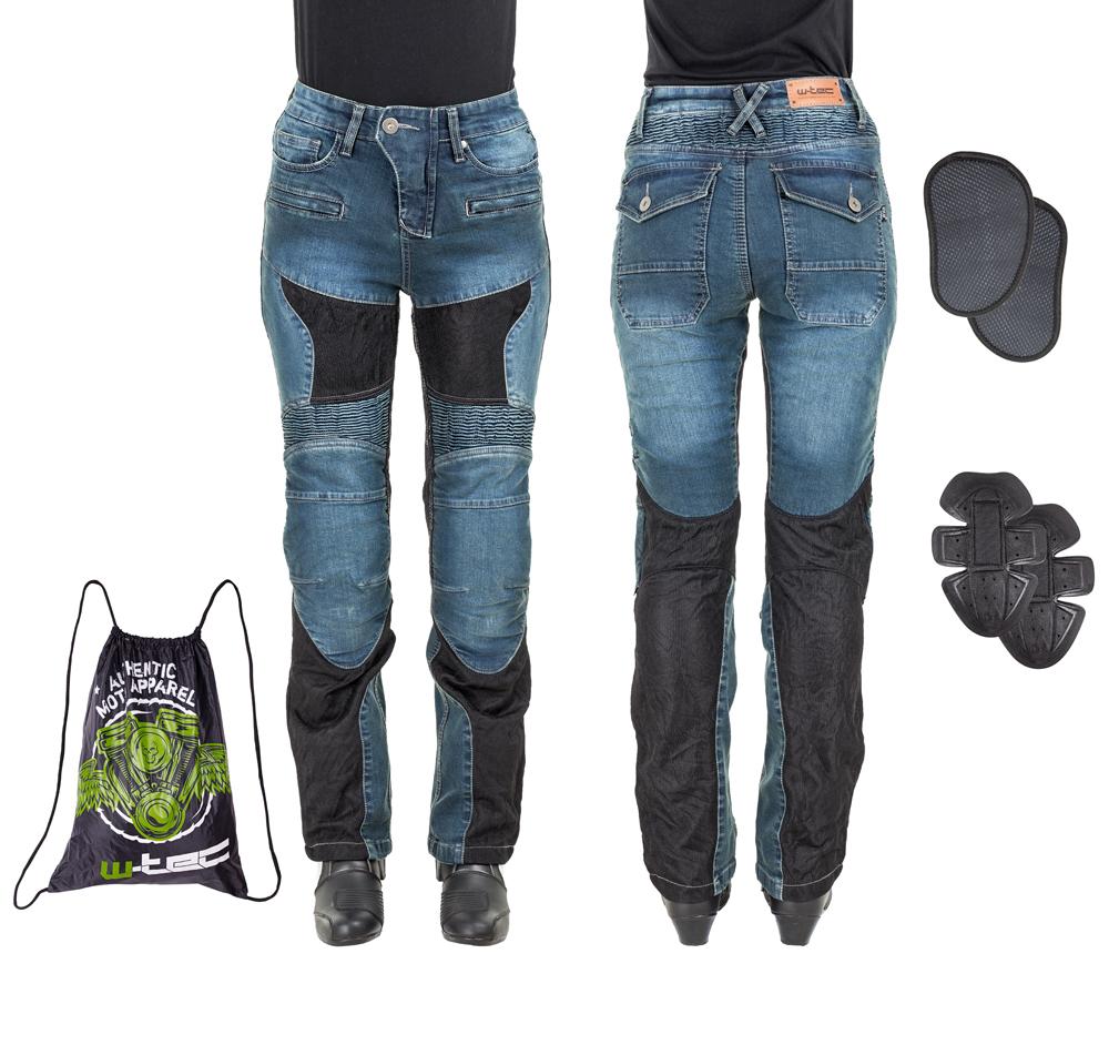Dámske moto jeansy W-TEC Bolftyna modro-čierna - L