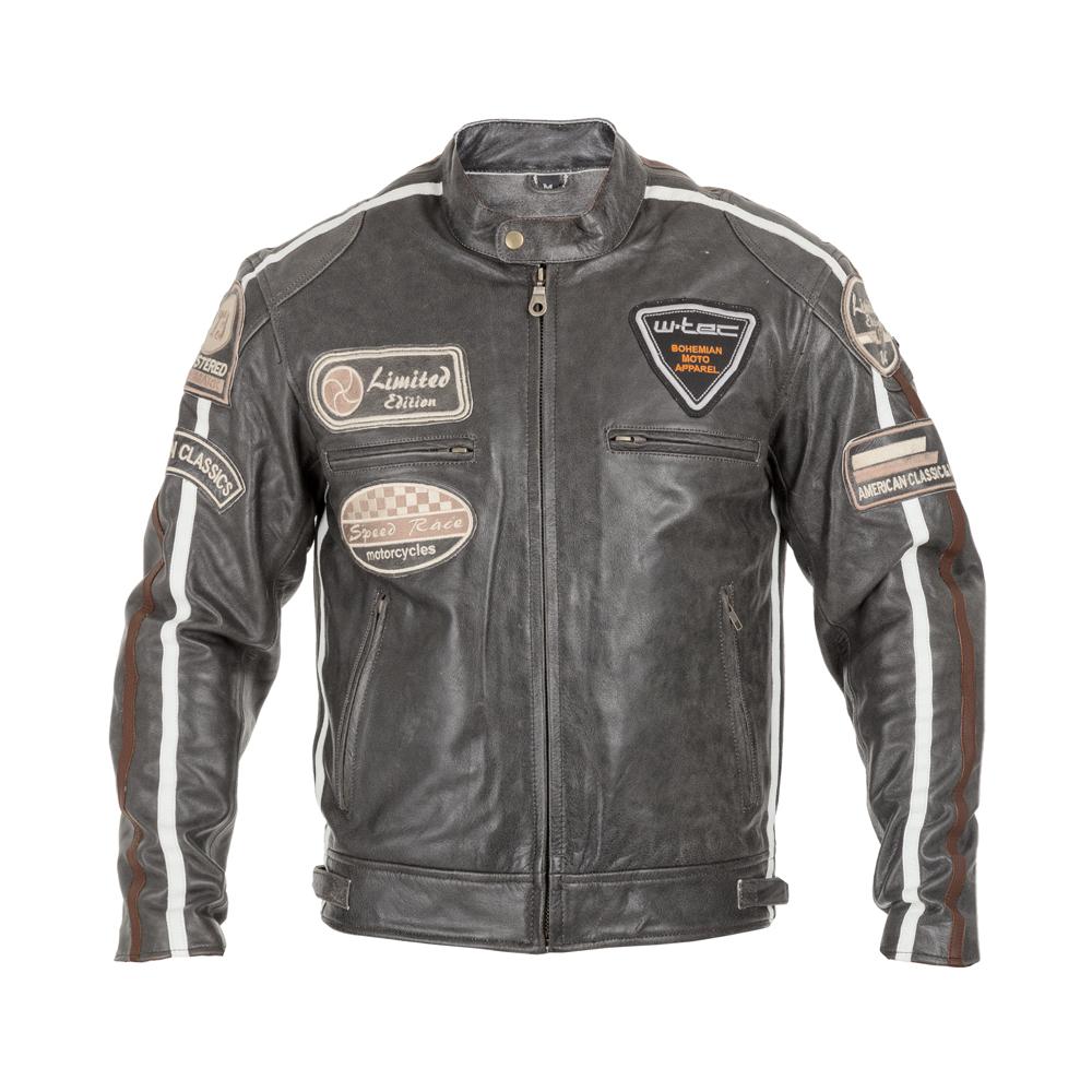 Pánska kožená moto bunda W-TEC Antique Cracker hnědo-šedá - XXL