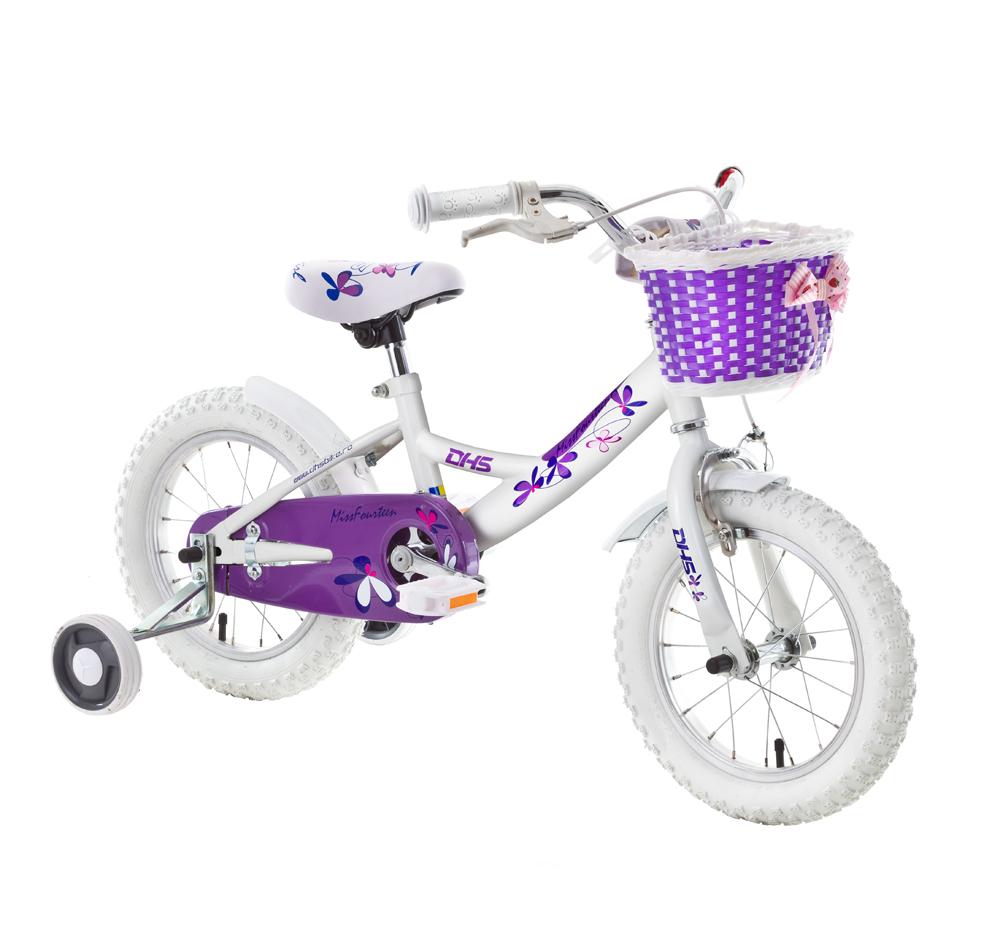 "Detský bicykel DHS Miss Fourteen 1404 14"" - model 2015 biela - 8"" - Záruka 10 rokov"