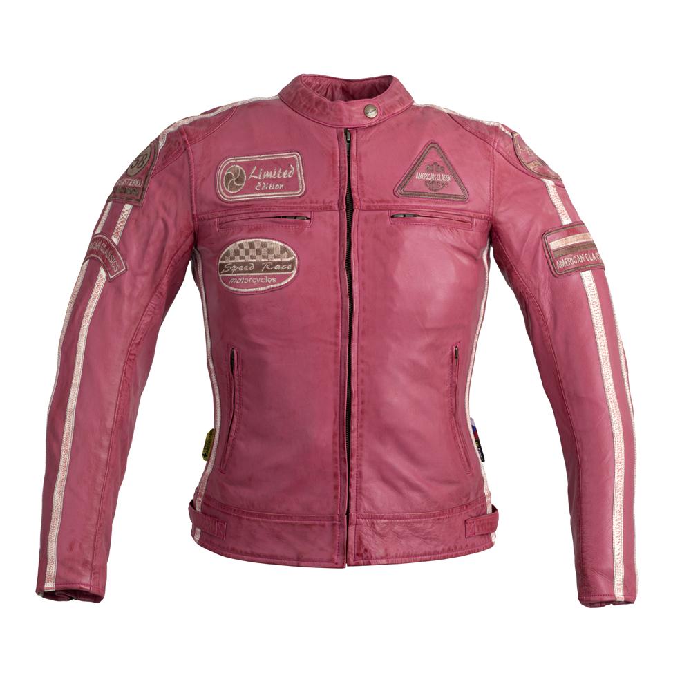 Dámska kožená moto bunda W-TEC Sheawen Lady Pink