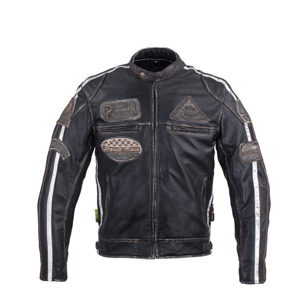 Pánska kožená moto bunda W-TEC Sheawen Vintage čierna - M