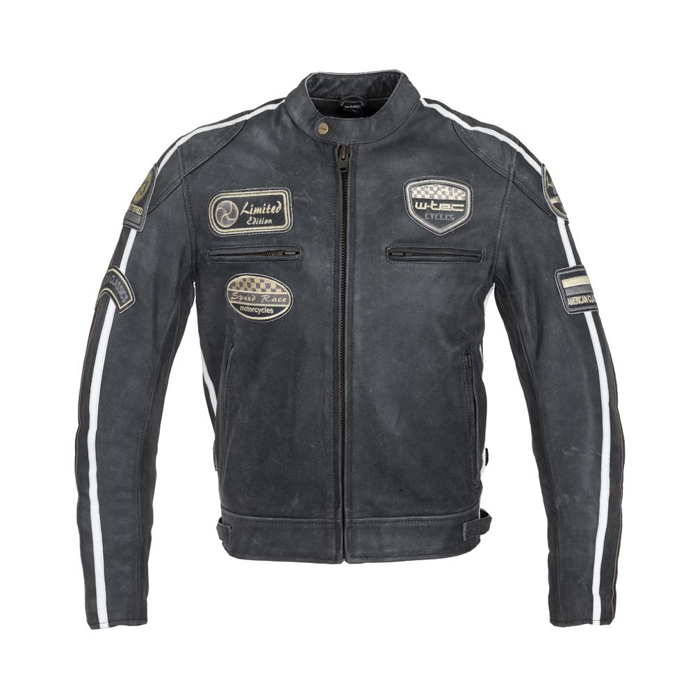 Pánska kožená moto bunda W-TEC Dark Grey Vintage tmavo šedá - XXL
