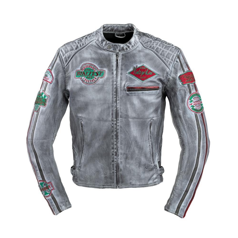 Pánska kožená moto bunda W-TEC Sheawen Worn Grey šedá - XXL