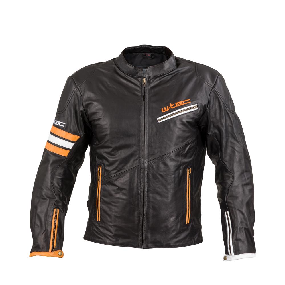 Kožená moto bunda W-TEC Brenerro Black-Orange-White - S