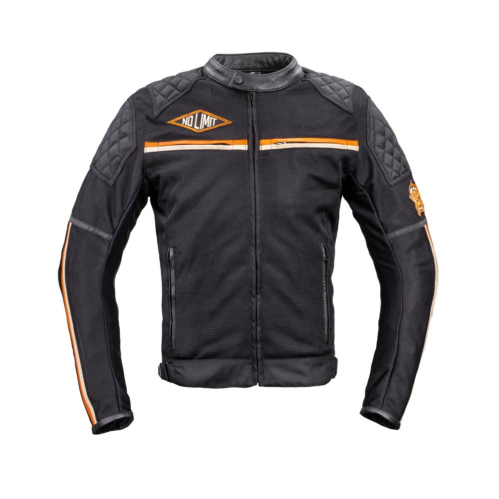 Pánska moto bunda W-TEC 2Stripe čierno-béžovo-oranžová - XL