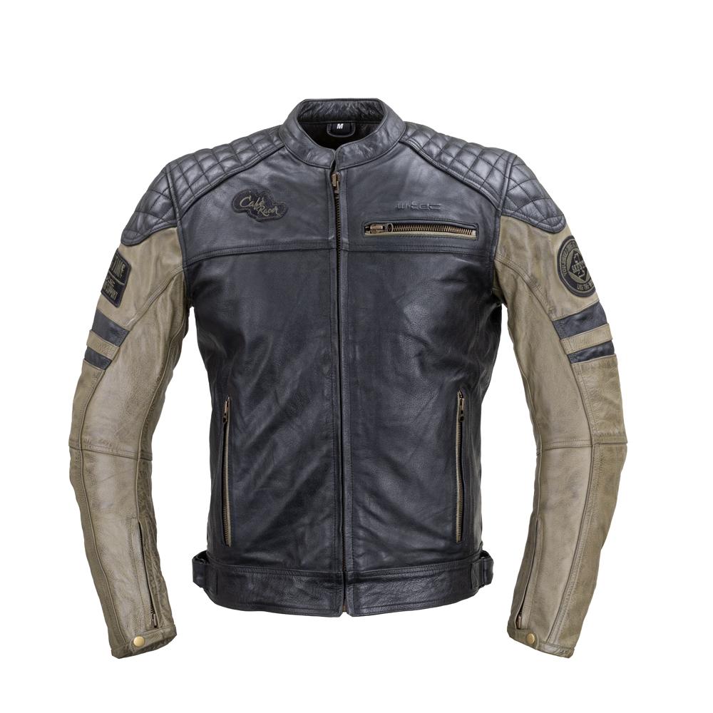 Pánska kožená moto bunda W-TEC Kostec čierna - S