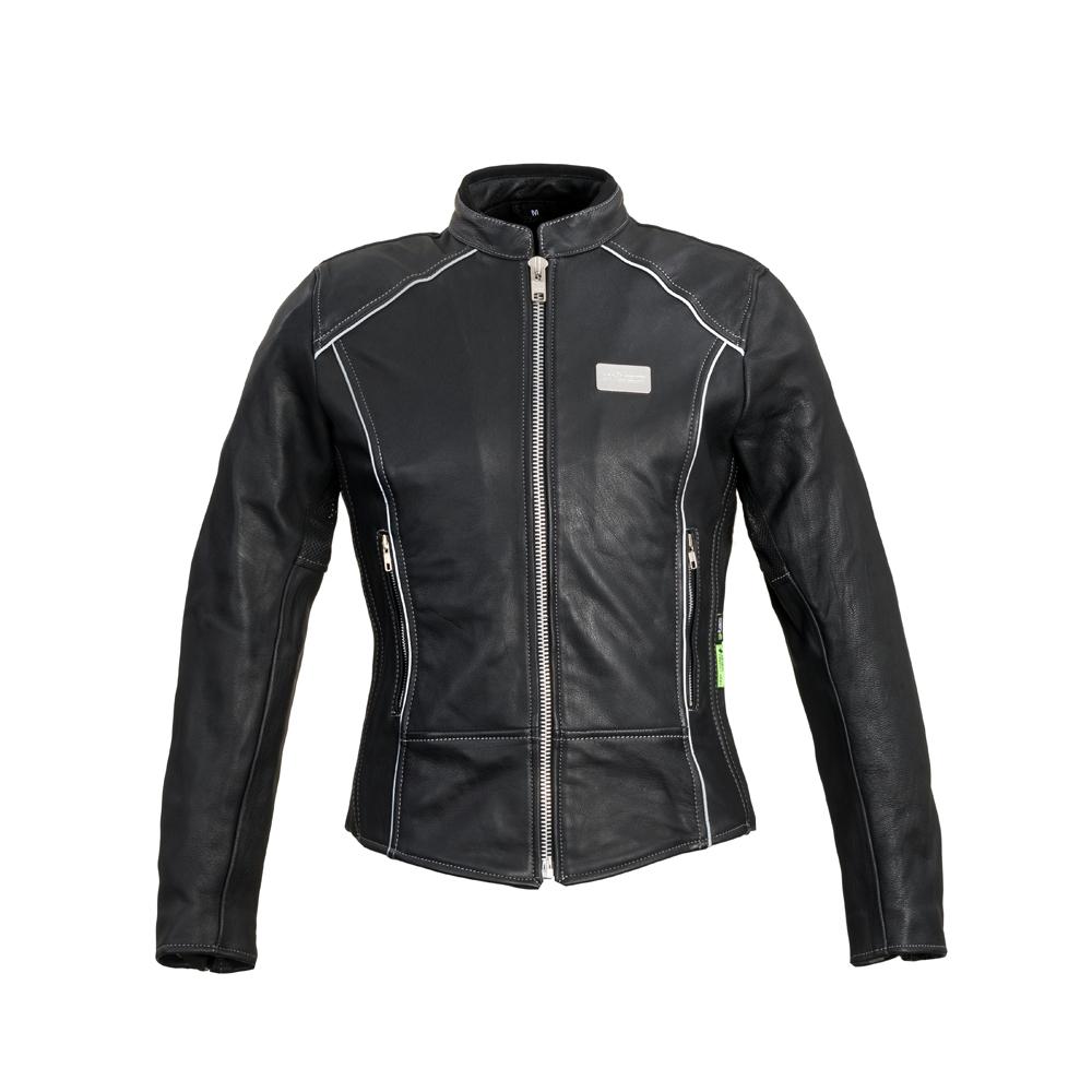 Dámska kožená moto bunda W-TEC Hagora matne čierna - XL