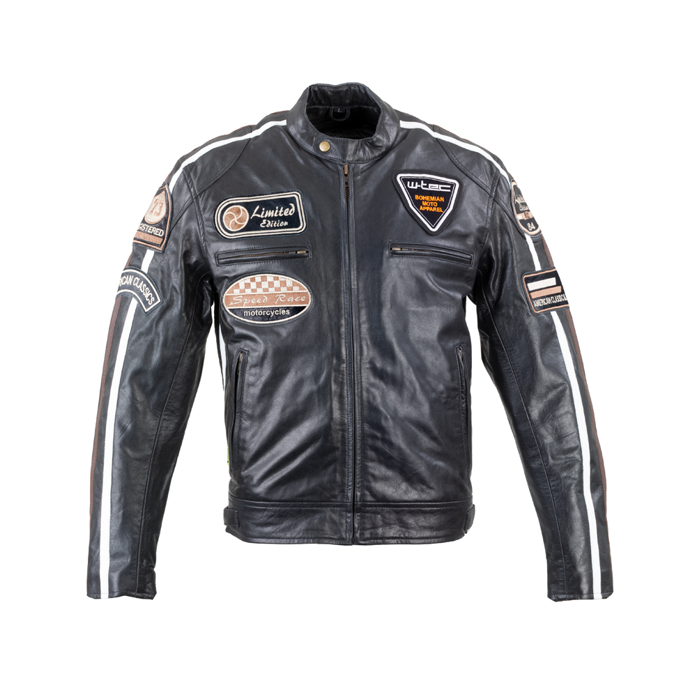 Pánska kožená moto bunda W-TEC Black Cracker čierna - XXL