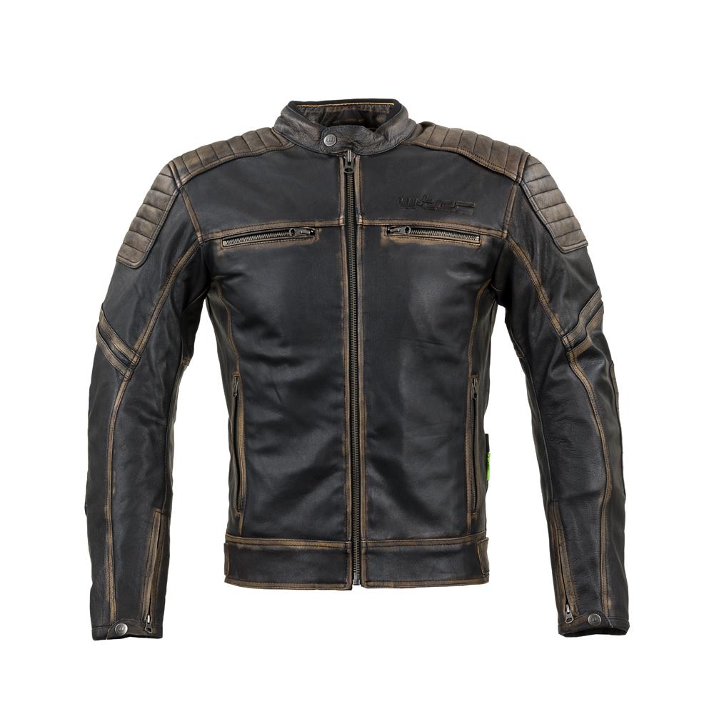 Kožená moto bunda W-TEC Mungelli vintage hnedá - S
