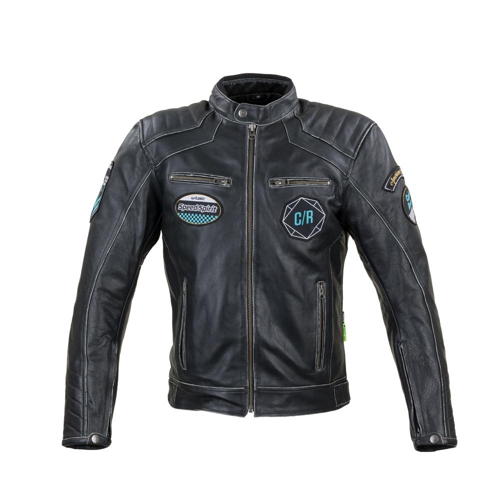 Kožená moto bunda W-TEC Losial čierna - 5XL