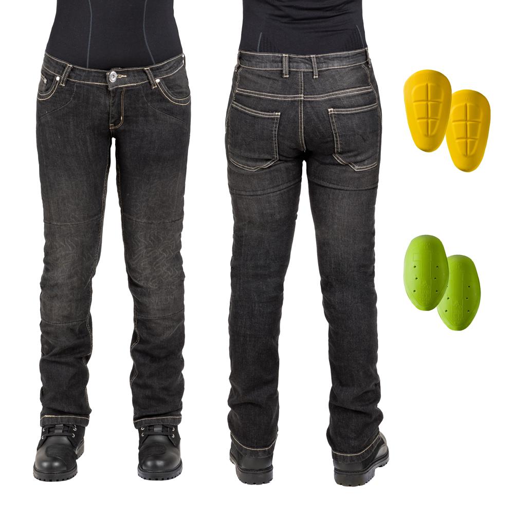 Dámske moto jeansy W-TEC C-2011 čierne čierna - 37
