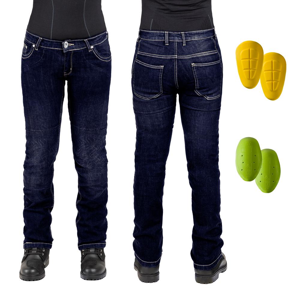 Dámske moto jeansy W-TEC C-2011 modré modrá - 27-28