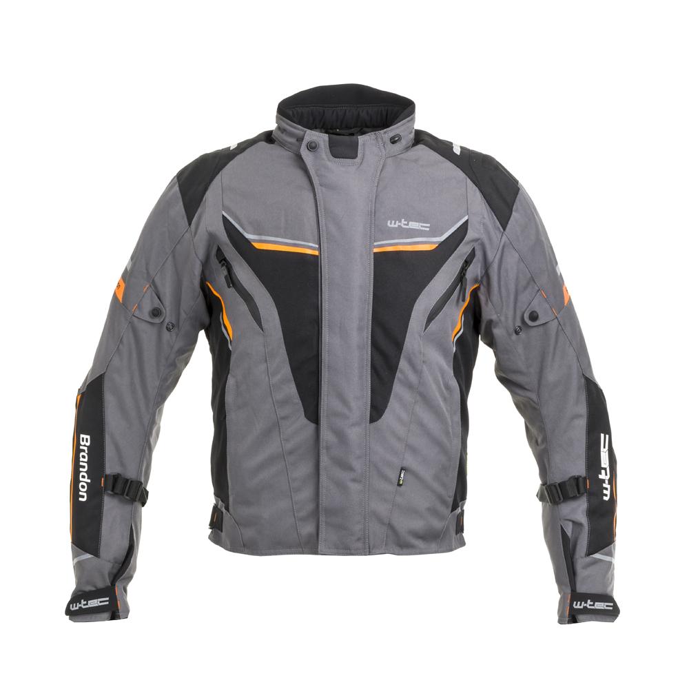 Pánska moto bunda W-TEC Brandon čierno-šedo-oranžová - S