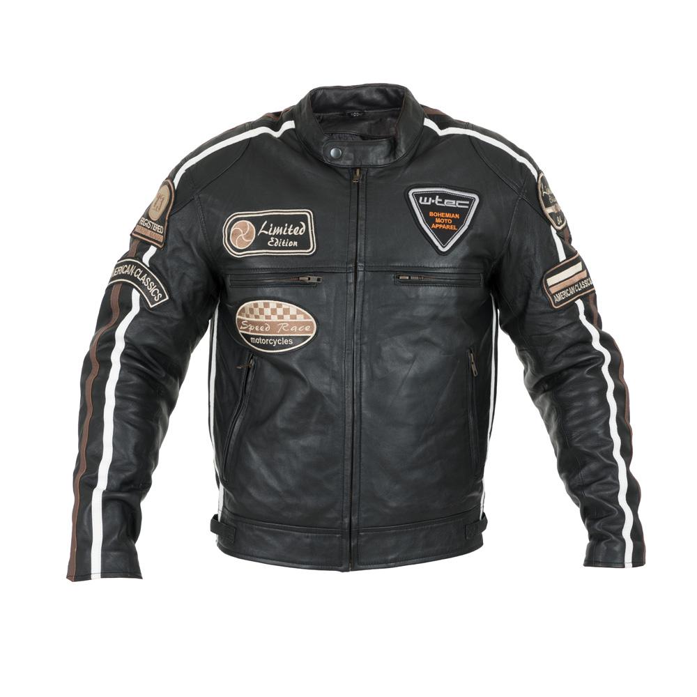 Pánská kožená moto bunda W-TEC Sheawen čierna - 5XL