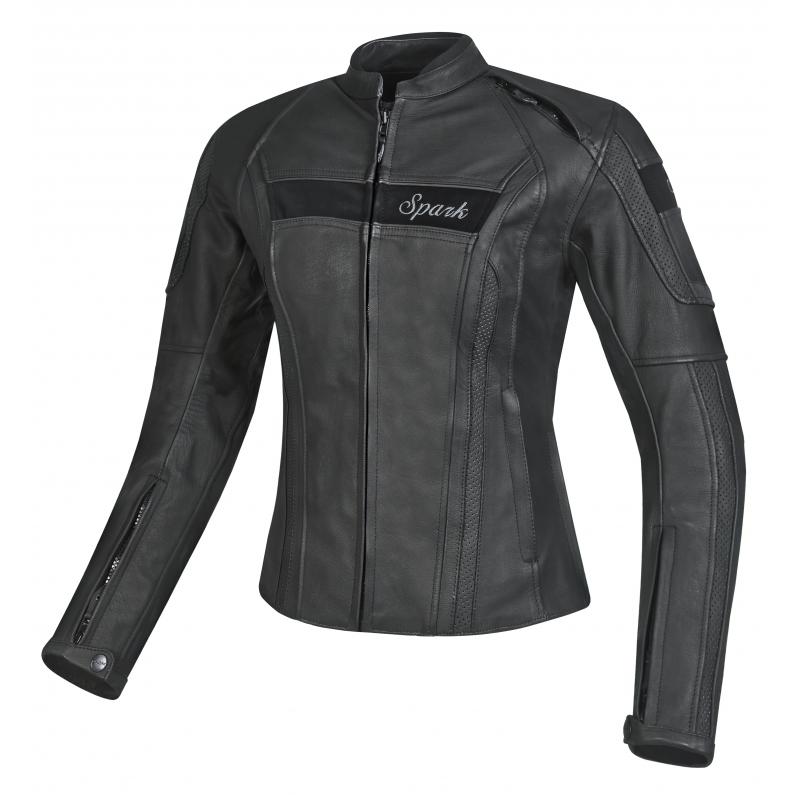 Dámska kožená moto bunda Spark Virginia čierna - 3XL