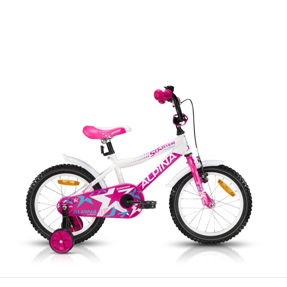 """Detský bicykel ALPINA Starter 16"""" - model 2016 ružová - 235 mm (9,5"""")"""