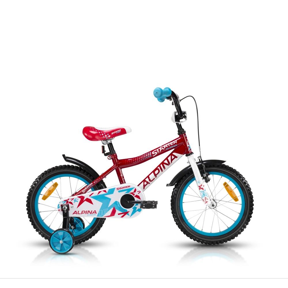 """Detský bicykel ALPINA Starter 16"""" - model 2016 červená - 235 mm (9,5"""")"""