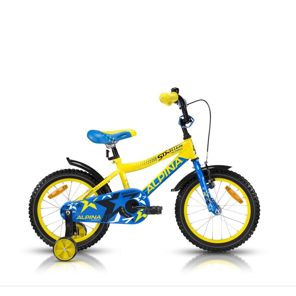 """Detský bicykel ALPINA Starter 16"""" - model 2016 žltá - 235 mm (9,5"""")"""
