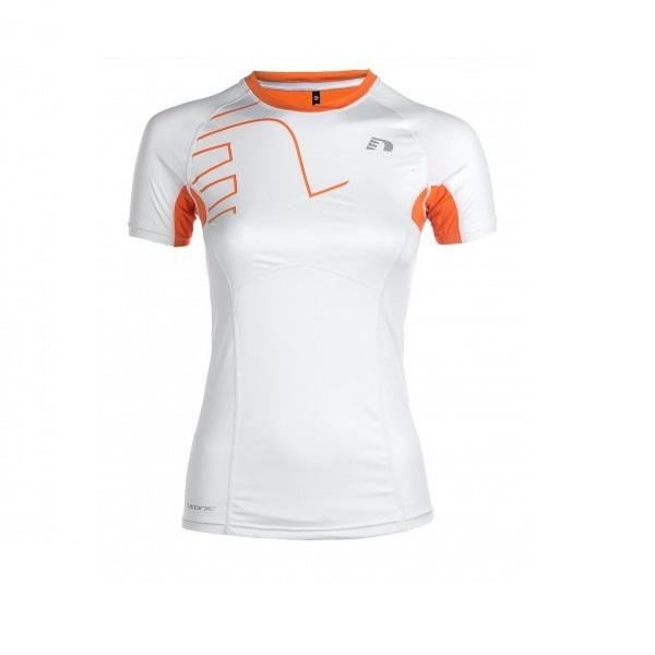 Dámske kompresné bežecké tričko NEWLINE Vent Stretch Tee bielo-oranžová - S