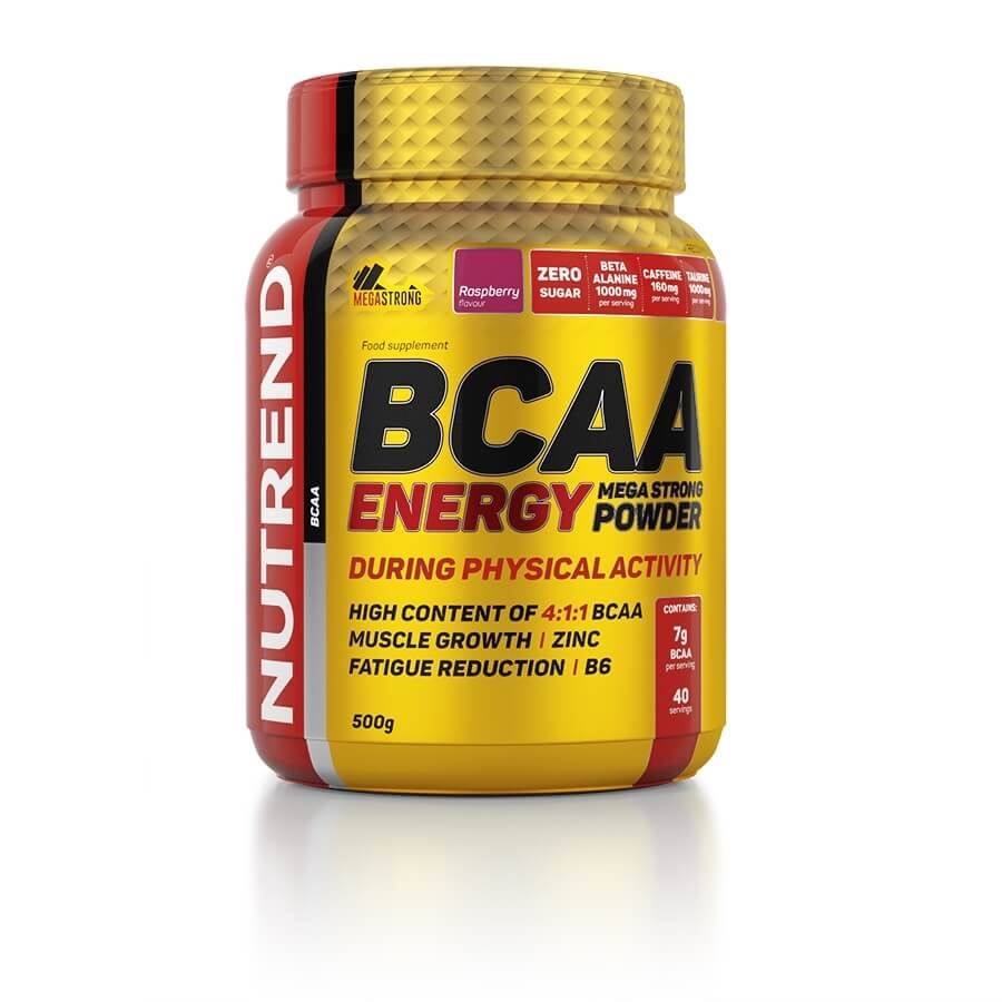 Energetická zmes Nutrend BCAA Energy Mega Strong Powder malina