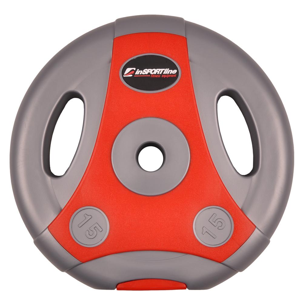 Cementový kotúč inSPORTline Ergo 15 kg šedo-červený