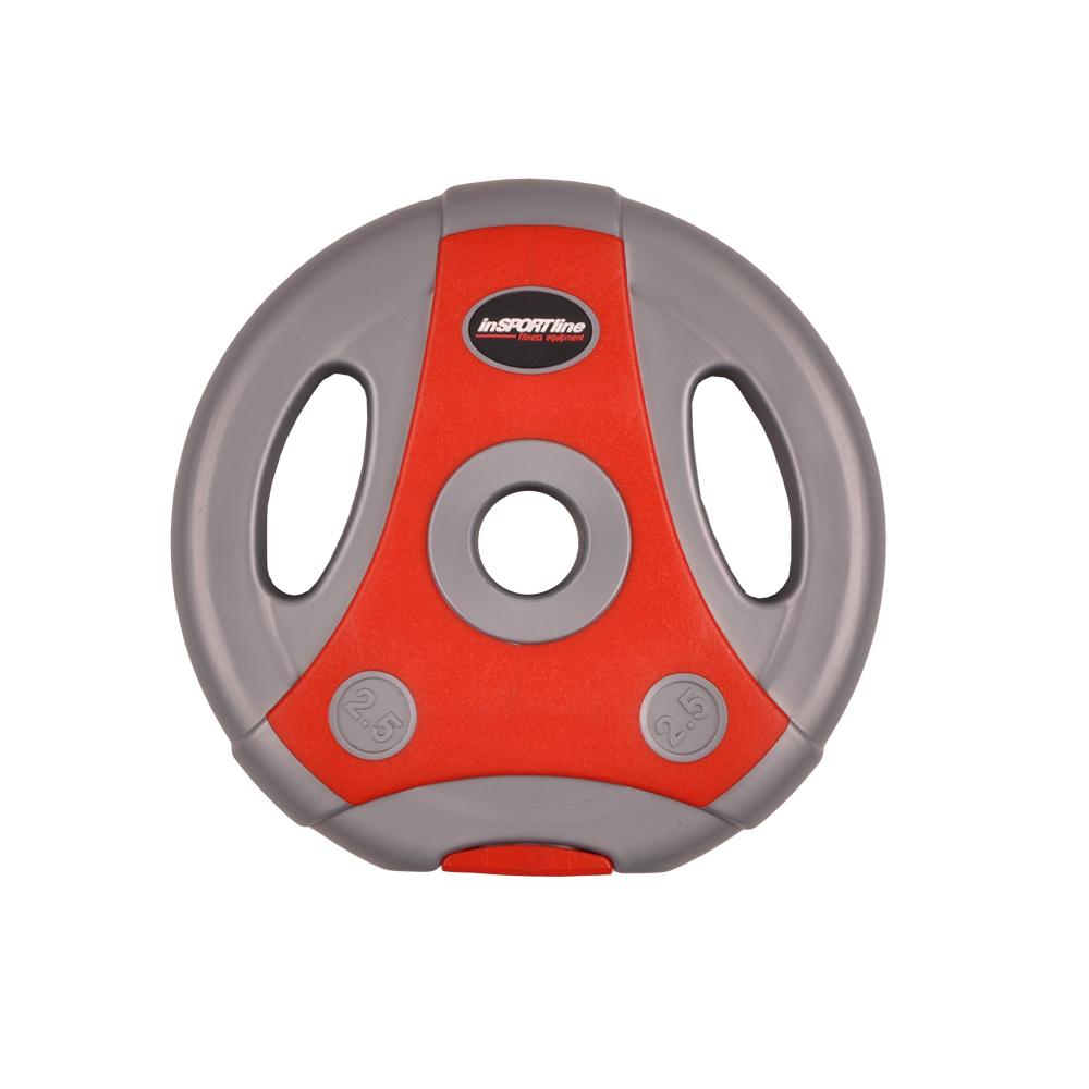Cementový kotúč inSPORTline Ergo 2,5 kg šedo-červený