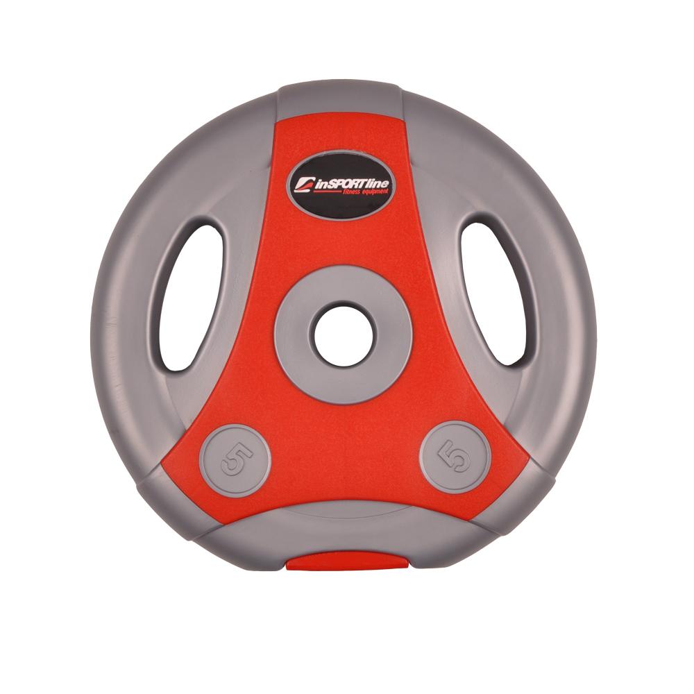 Cementový kotúč inSPORTline Ergo 5 kg šedo-červený
