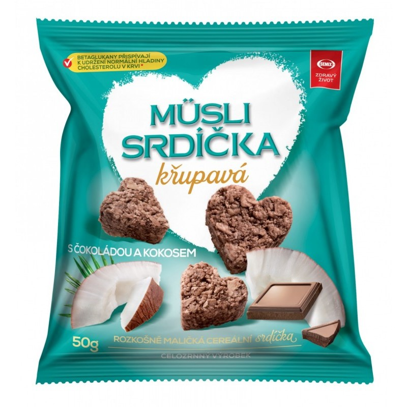 Müsli srdiečka chrumkavé Semix čokoláda - kokos