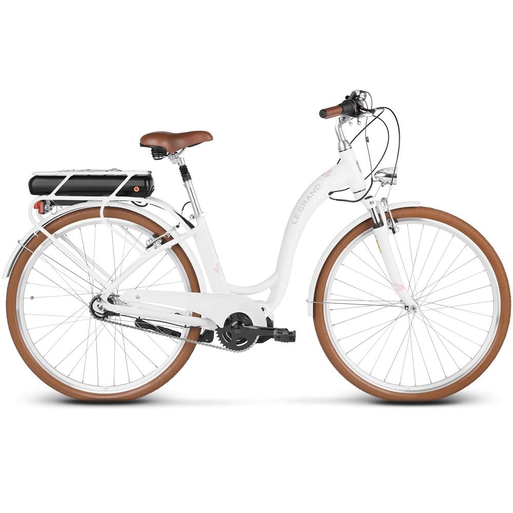 "Mestský elektrobicykel Le Grand Elille 3 28"" - model 2019 White / Black / Pink Glossy - L (19"") - Záruka 10 rokov"