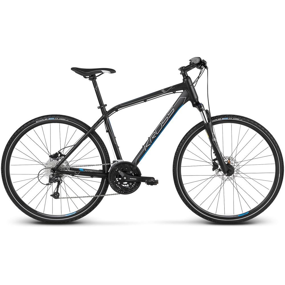 """Pánsky crossový bicykel Kross Evado 6.0 28"""" - model 2020 čierno-modrá - S (17'') - Záruka 10 rokov"""