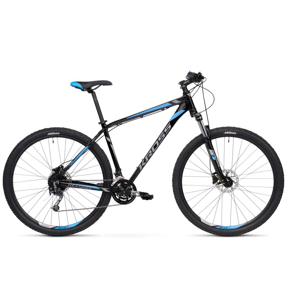 """Horský bicykel Kross Hexagon 7.0 29"""" - model 2020 čierna/grafitová/modrá - XL (23"""") - Záruka 10 rokov"""