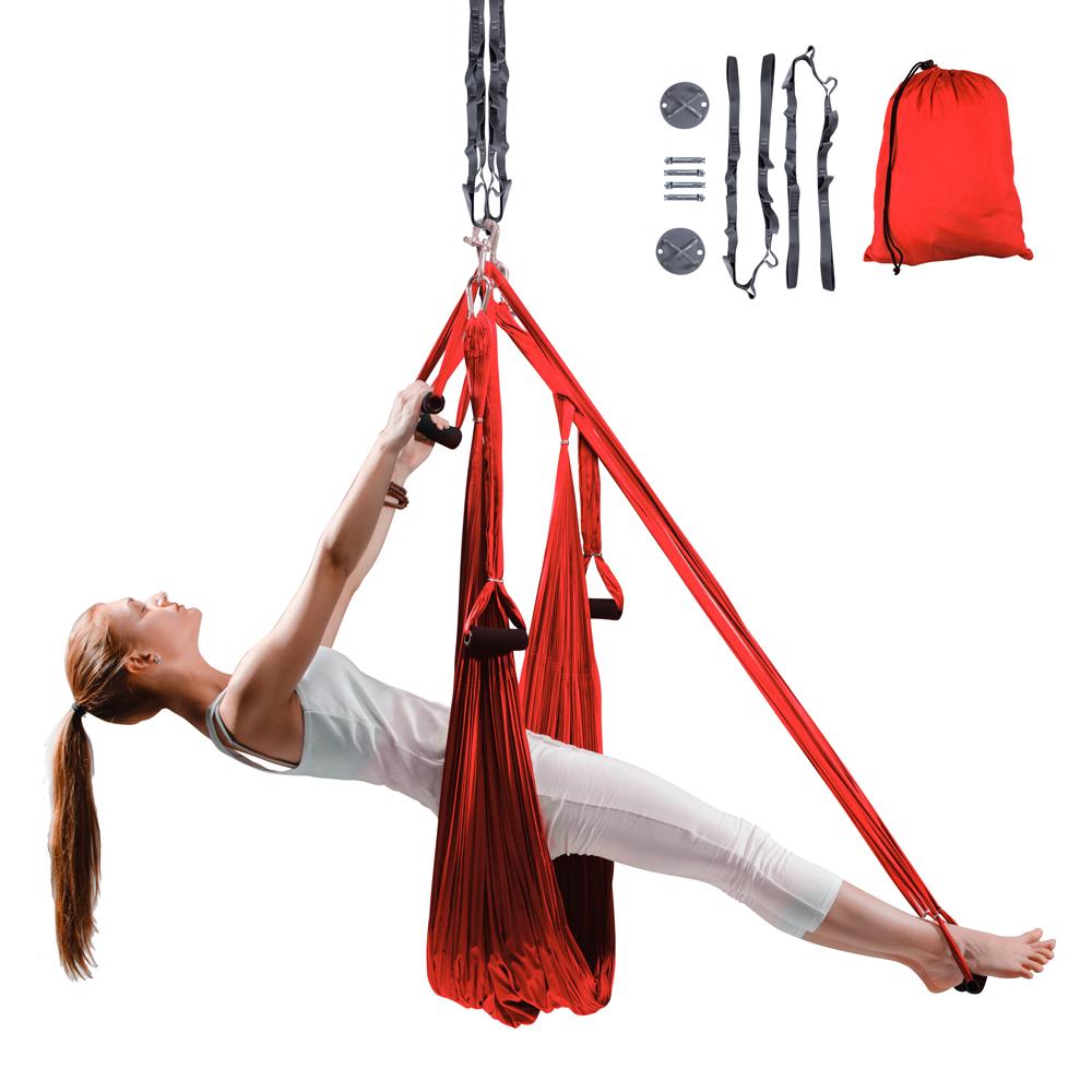 Popruhy na aero jogu inSPORTline Hemmok červené s držiakmi a lanami