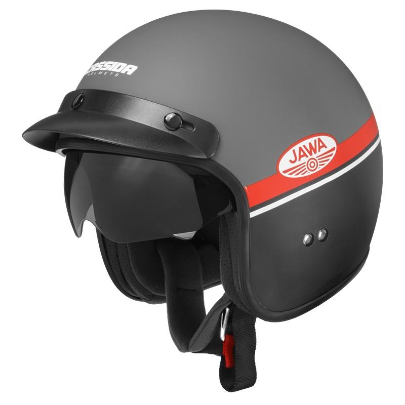 Moto prilba Cassida Oxygen Jawa OHC šedá matná/červená/čierna/biela - XXL (63-64)