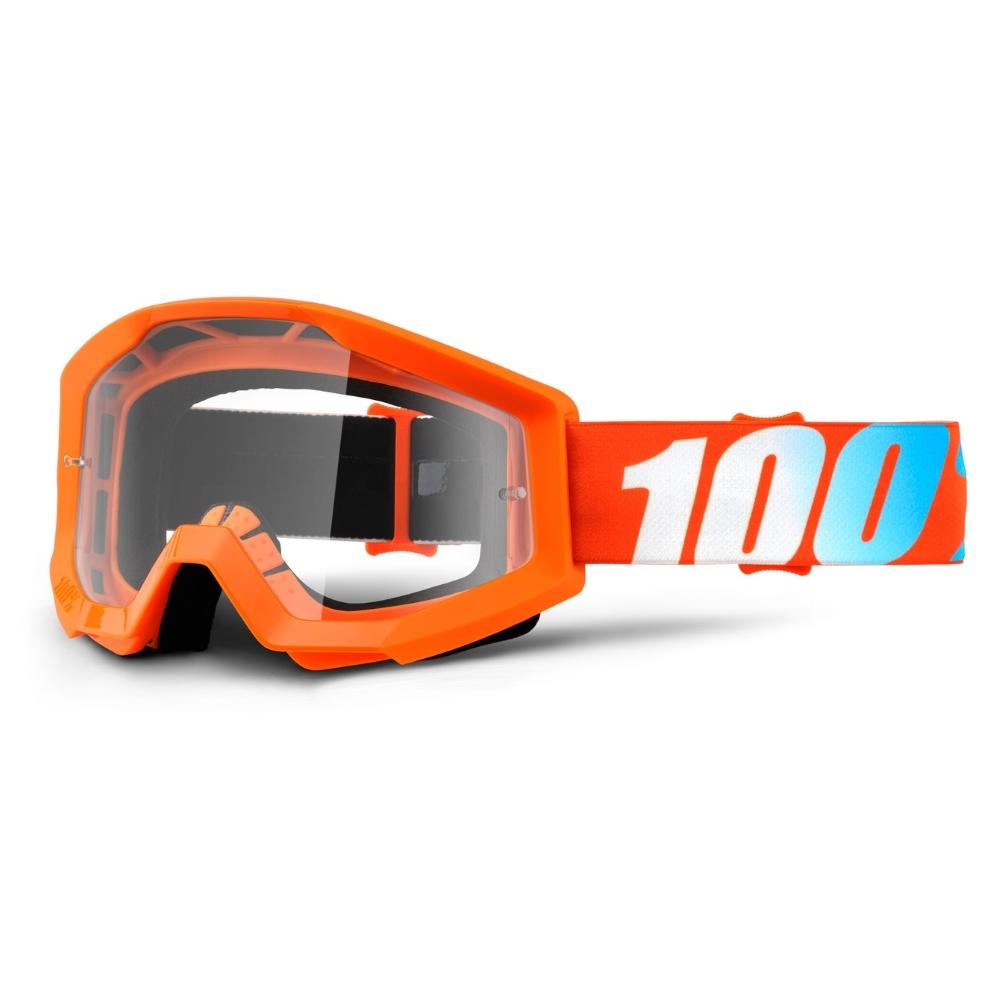 Motokrosové okuliare 100% Strata Orange oranžová, čire plexi s čapmi pre trhačky