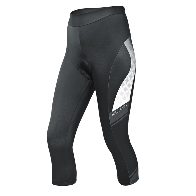 Dámske cyklistické nohavice Kellys Megan 3/4 čierno-biela - XL