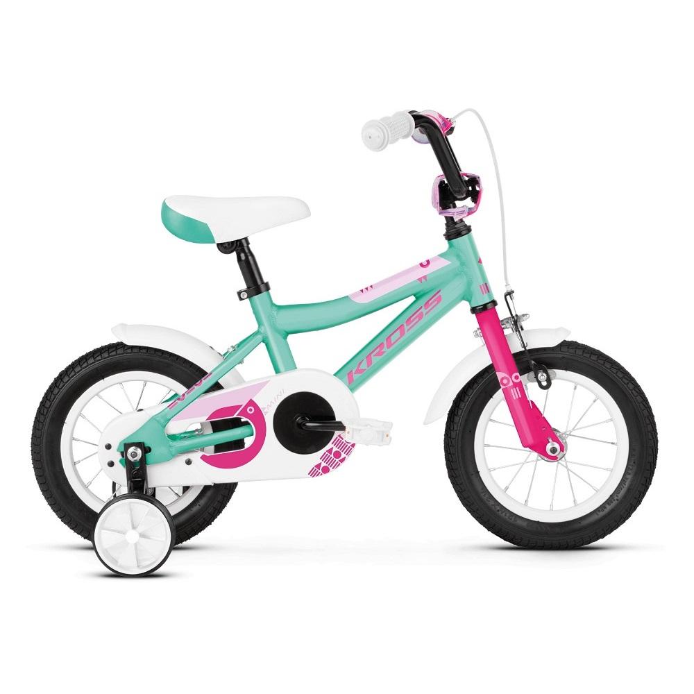 "Detský bicykel Kross Mini 2.0 12"" - model 2019 Turquoise / Pink Glossy - Záruka 10 rokov"