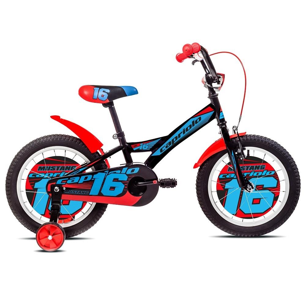 "Detský bicykel Mustang 16"" - model 2017 čierno-modrá"
