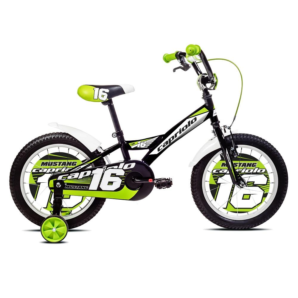 """Detský bicykel Mustang 16"""" - model 2017 čierno-zelená"""