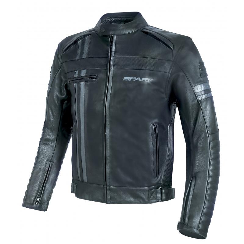Pánska kožená moto bunda Spark Brono Evo čierna - 3XL