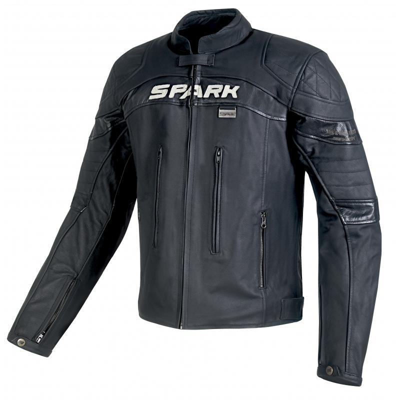 Pánska kožená moto bunda SPARK Dark čierna - L
