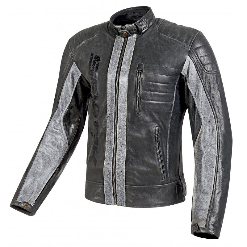 Pánska kožená moto bunda Spark Hector čierna - 6XL