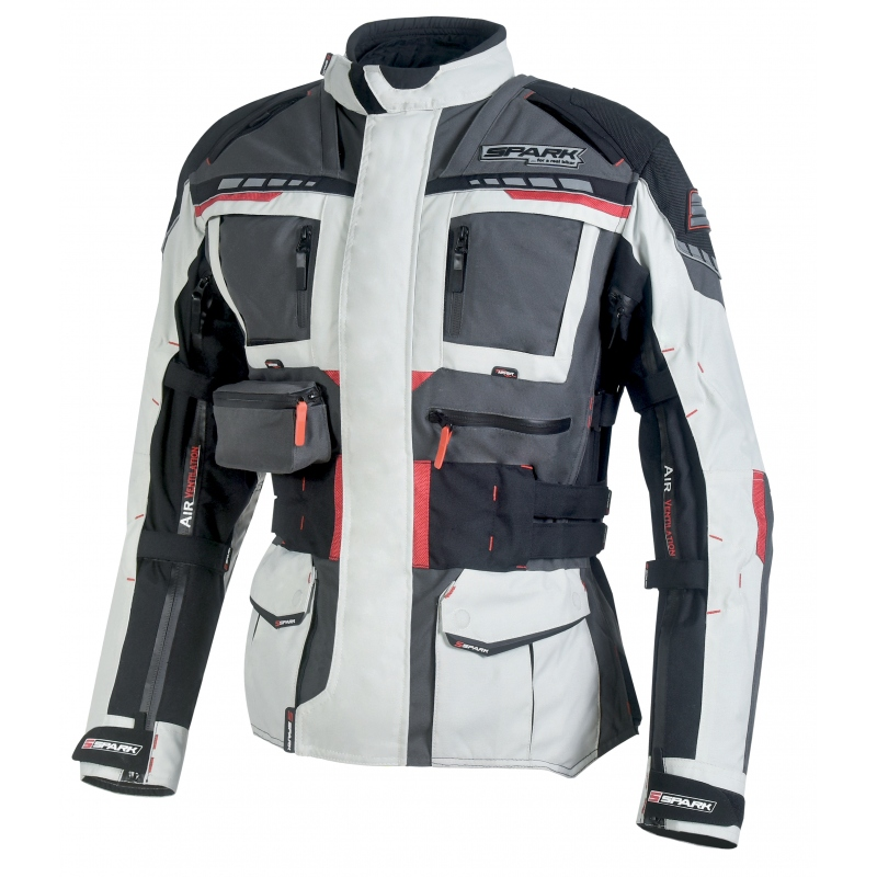 Pánska textilná moto bunda Spark Avenger šedá - XXL