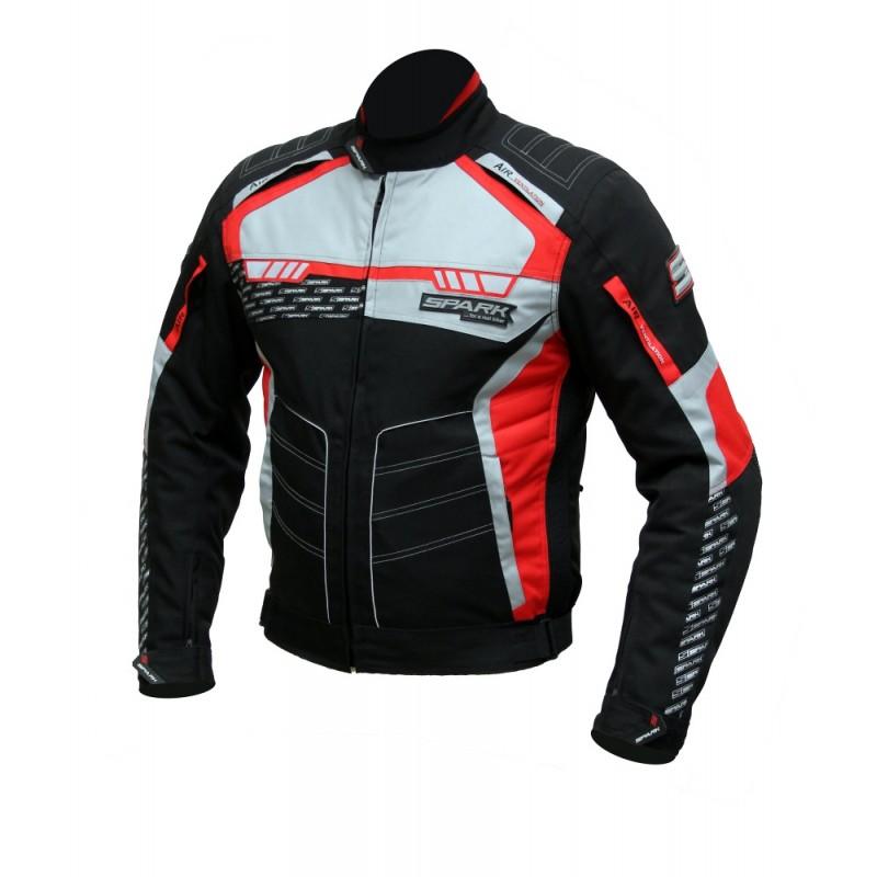 Pánska textilná moto bunda Spark Mizzen červeno-čierna - 6XL