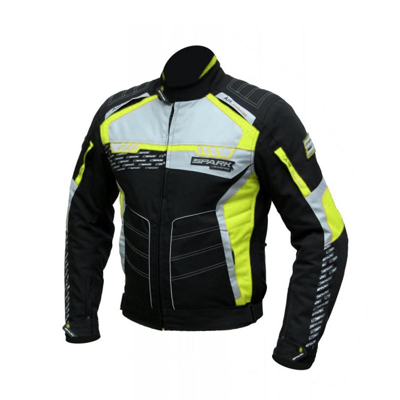 Pánska textilná moto bunda Spark Mizzen čierna-fluo - 6XL
