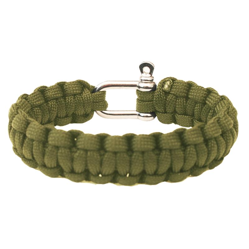 Náramek Highlander Paracord - kovová spona olivovo zelená