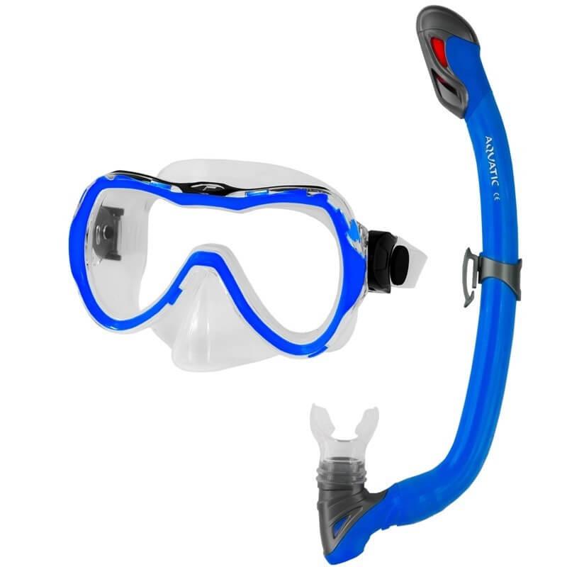 Detské potápačské okuliare Aqua-Speed Enzo so šnorchlom Samos modré
