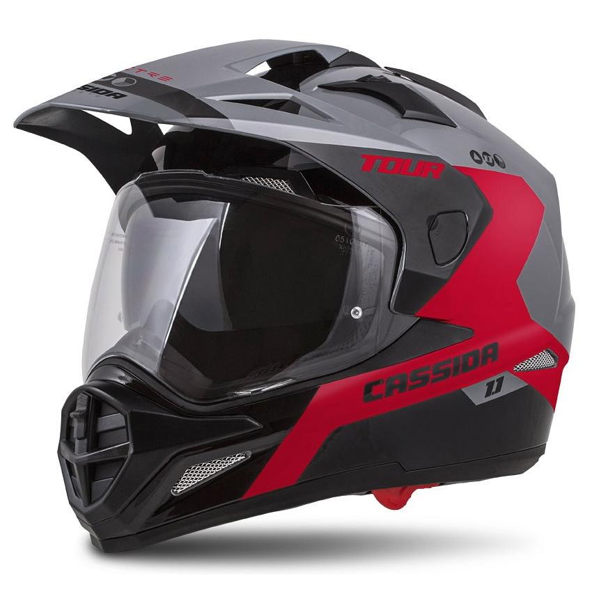Moto prilba Cassida Tour 1.1 Spectre šedá/červená/čierna - XXL (63-64)