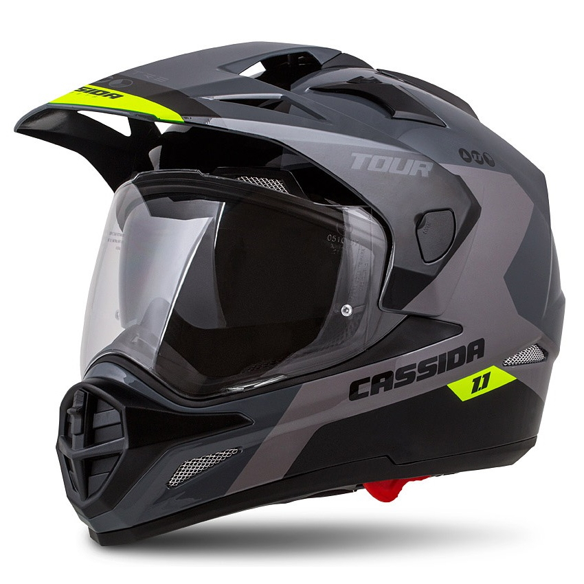 Moto prilba Cassida Tour 1.1 Spectre šedá/svetlo šedá/žltá fluo/čierna - XXL (63-64)