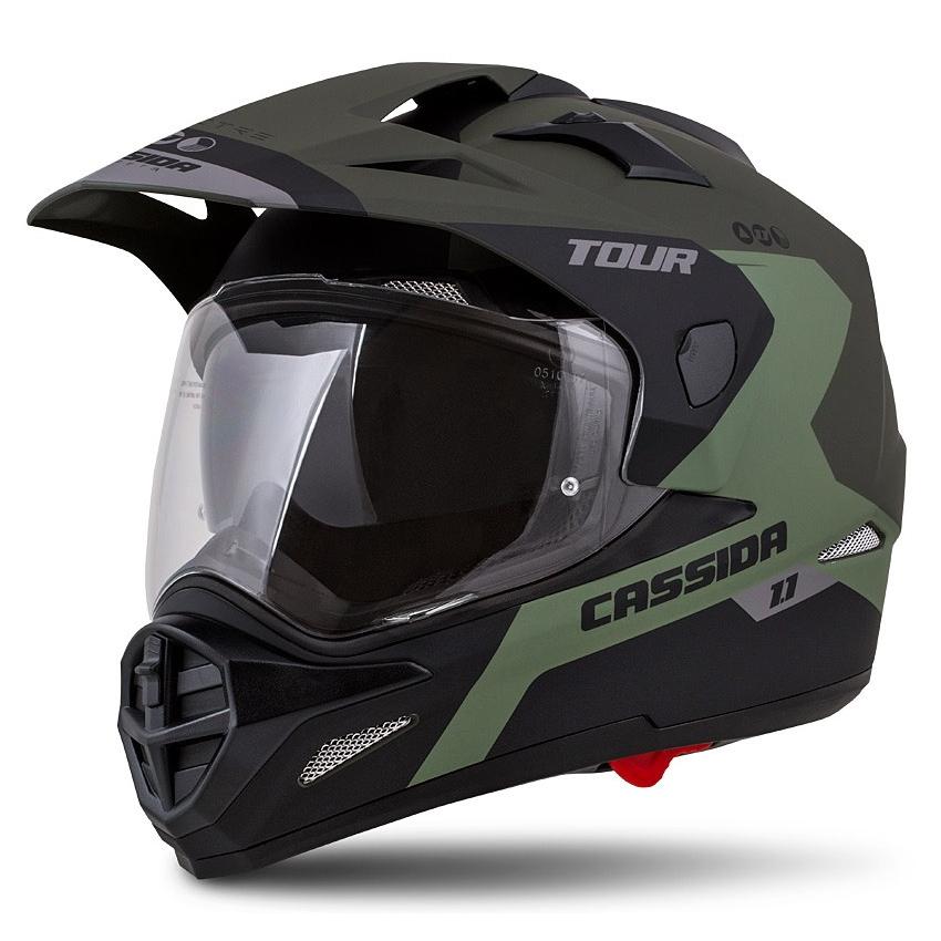 Moto prilba Cassida Tour 1.1 Spectre zelená army matná/šedá/čierna - XXL (63-64)